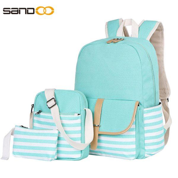 Stylish Canvas School Bag 3 Pieces Set