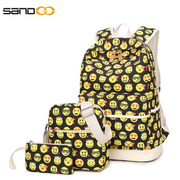 Custom New Product Emoji Pattern Canvas School Bag Set