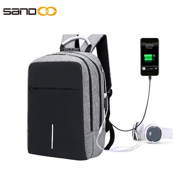 Anti-theft laptop backpack with USB and headphone holes