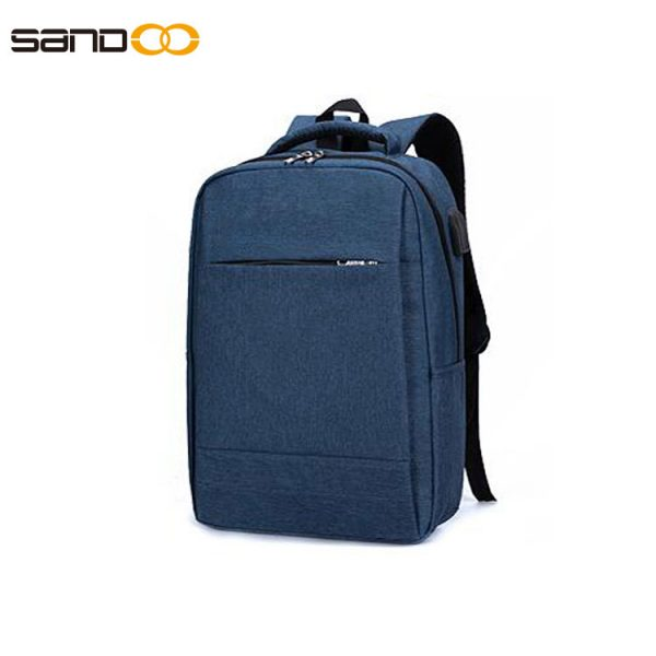 Business style laptop backpack with USB charging and headphone hole