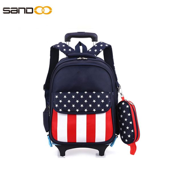 Wholesale trolley school backpack with two wheels