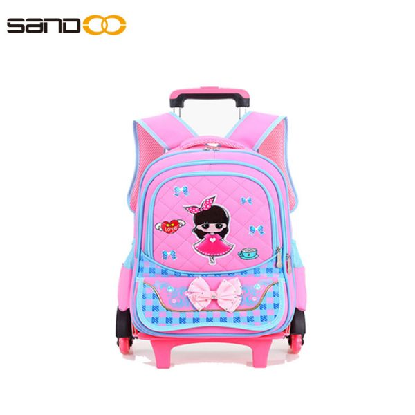 Wholesale trolley school backpack with six wheels for girls