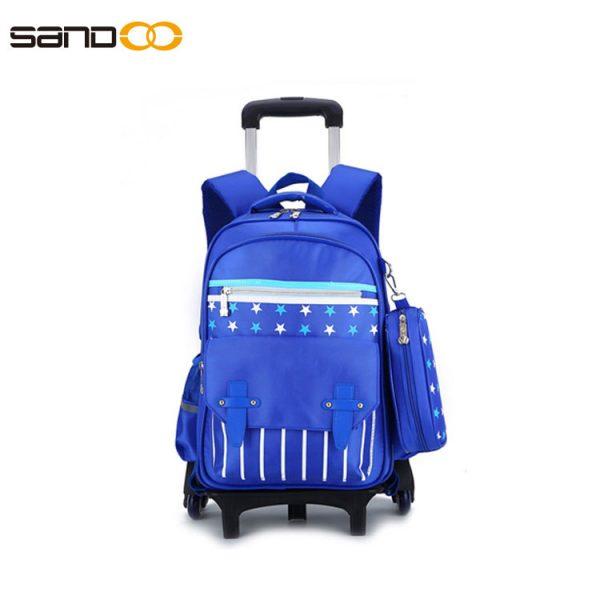 Ergonomic design six wheel trolley school backpack for boys