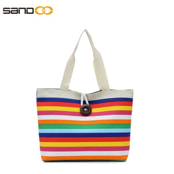 Wholesale colorful stripe bump designed canvas handbag