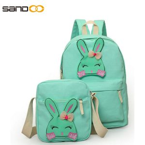Cute Rabbit Cartoon Design School Bag Set For Girl