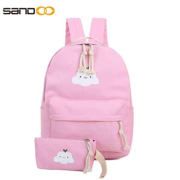 Wholesale Korea Style Canvas School Backpack Set