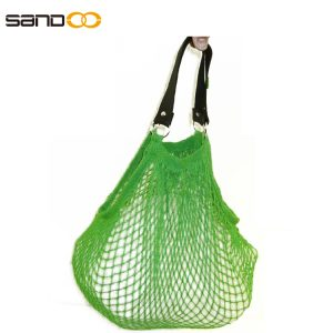 Cotton fruit mesh bag with leather handle