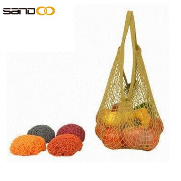 Supermarket cotton mesh shopping bag , fruit mesh bag for women