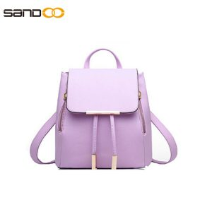 Pure color fashion PU backpack for lady