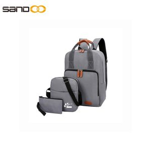 Three-piece Korean travel bag computer backpack USB school student bag
