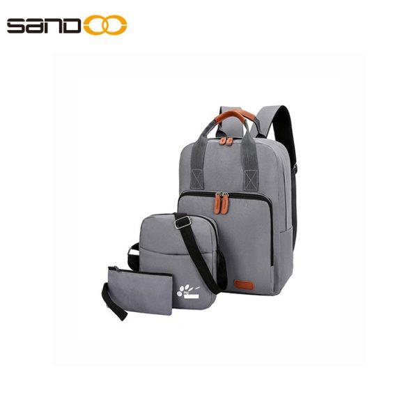 Three-piece Korean travel bag computer backpack USB school student bag