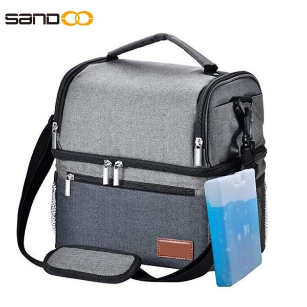 Leak proof Cooler Lunch Box with shoulder Strap, Dual Compartment Meal Prep Lunch Tote for Adult & Kids, Washable Outdoor Adult Cooling Food Organizer