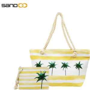 Two pcs in one set Beach Bag with Tote Handle ,Women Travel Shopping Bag