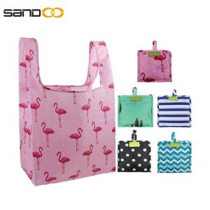 Cute Designs Folding Shopping Tote Bag Fits in Pocket Eco Friendly Ripstop Nylon Waterproof and Machine Washable Cloth Bags