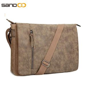 16.5 inch Laptop Messenger Bag for Men and Women, Vintage Canvas Waterproof PU Leather Large Crossbody Shoulder Bag