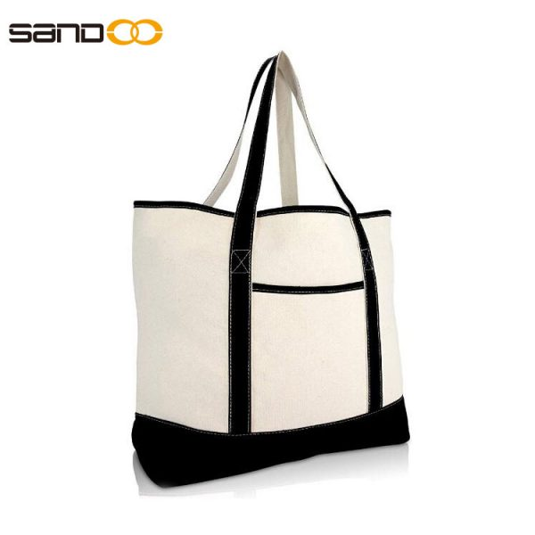 """22"""" Open Top Heavy Duty Deluxe Canvas Tote Bag with Outer Pocket"""
