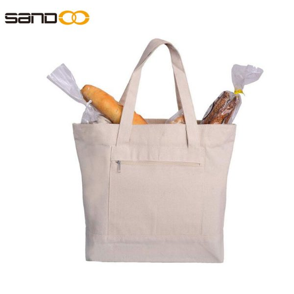 Reusable Heavy Canvas Zippered Tote Bags Two Tone Carry -All w/Zipper Front Pocket for Beach, Pool Visits, Shopping, Travel