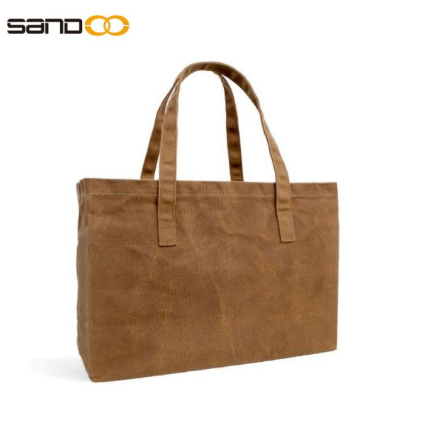 Reusable Grocery Bag Waxed-Canvas Shopping Tote Bag Comfortable Length Handles for travel