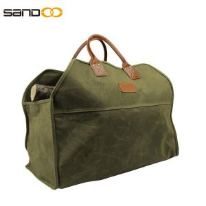 Heavy Duty Wax Canvas Log Carrier Tote,Large Fire Wood Bag,Durable Firewood Holder,Fireplace Wood Stove Accessories Storage Bag