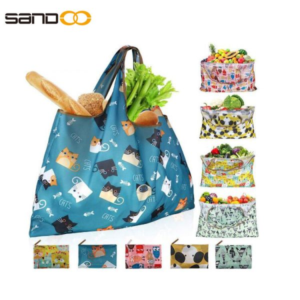 Reusable Shopping Bags Foldable Washable 55LBS XX-Large Grocery Bags Heavy Duty Cloth Shopping Bags Tote Eco-Friendly Ripstop Waterproof Fits in Pocket