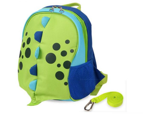 Cute Cartoon Dinosaur Lunch Backpack with Safety Harness Leash Kids Insulated Cooler bag