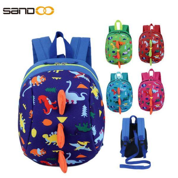 Lost proof Design Cartoon Dinosaur Backpack Cute Kids Animal Kindergarten Backpack For School